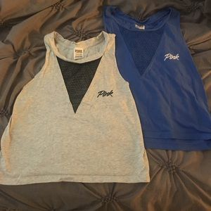 Bundle of VS PINK mesh v-neck tank tops